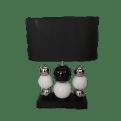 Abajur Bolas Preto/Branco/Prata Com Cúpula Preta