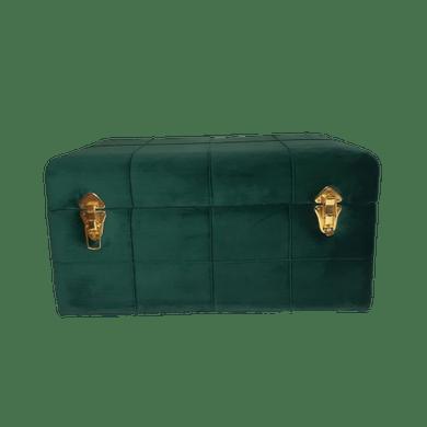 Báu Retangular Veludo Verde e Detalhes Dourado Grande