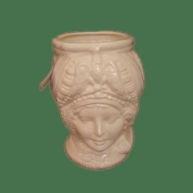 Cachepot Cabeça Dona Bege Cerâmica