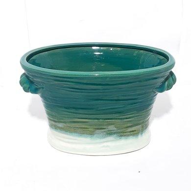 Cachepot Ceramica Oval Verde Degrade