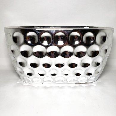 Cachepot Oval Cerâmica Prata Detalhe Bolas Grande