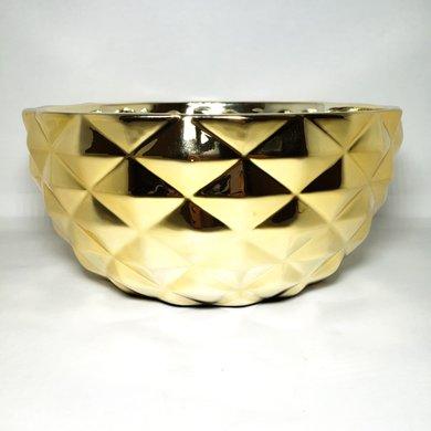 Cachepot Redondo Formato Losangos Dourado Médio