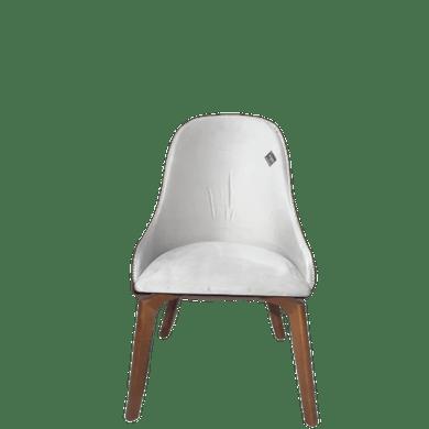 Cadeira Veludo Bege Claro E Costas Em Poá Preto