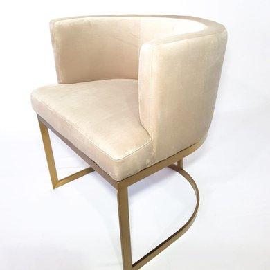 Cadeira Veludo Cinza Claro Estrutura Aço Inox Dourado
