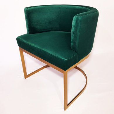 Cadeira Veludo Verde Estrutura Aço Inox Dourado