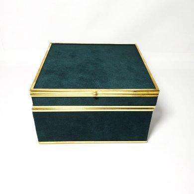 Caixa Quadrada em Veludo Verde com Detalhes em Dourado