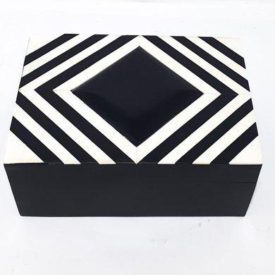 Caixa Quadrada Osso Preto/Branco Losangos P