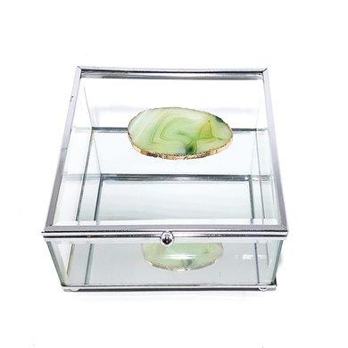Caixa Vidro Transp. Quad. C/Pedra Oval Filete Dourado
