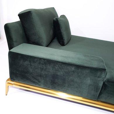 Chaise Verde em Veludo com Pés em Aço Inox Dourado