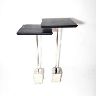 Conjunto De Duas Mesas com Tampo Preto E Pé Cromado