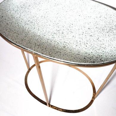 Mesa Lateral Oval em Bronze com Tampo em Espelho G