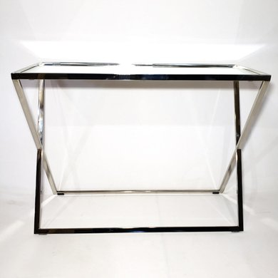 Mesa Lateral Retangular Inox Formato X com Espelho