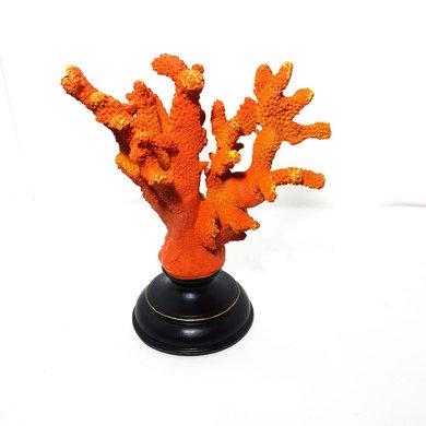 Miniatura Coral Sintético Laranja Pequeno com Base