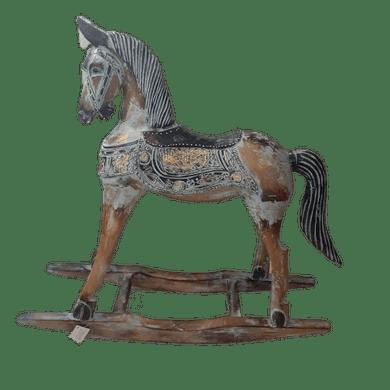 Miniatura Madeira Cavalo Balanço Azul Claro