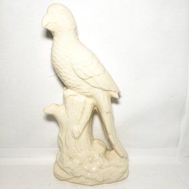 Miniatura Pássaro Cacatua Cerâmica Branco no Tronco
