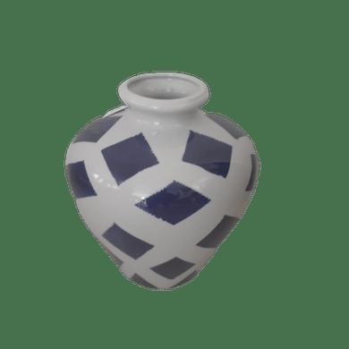 Pote Cerâmica Branco Com Losangos Azuis