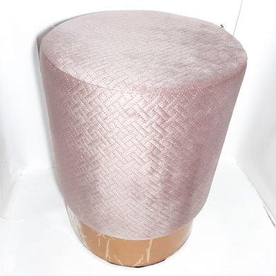 Puff Redondo Tecido Rosa Trabalhado C/ Filete Dourado
