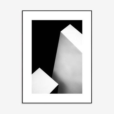 Quadro Estilo Abstrato Médio Branco Preto 70x1.01