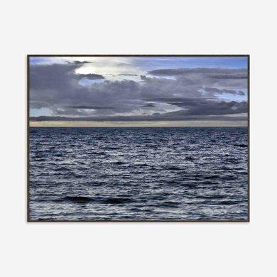 Quadro Mar ao Amanhecer Grande Azul Moldura Madeira
