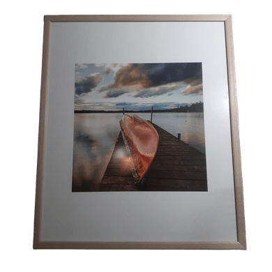 Quadro Trapiche Canoa Virada  Laranja Moldura Bege