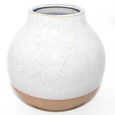 Vaso Bojudo Cerâmica Salpicado Azul C/ Base Cor Camurça