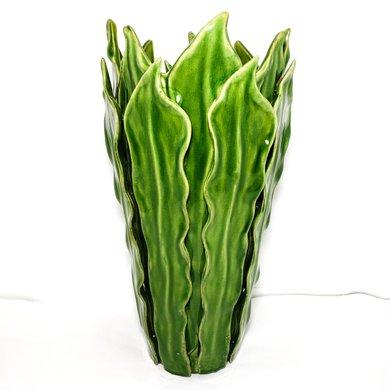 Vaso Cerâmica Folhas Espada de Adão Verde M 30cm