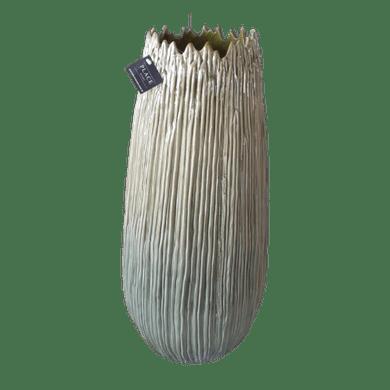 Vaso Cerâmica Verde Frisado Alto
