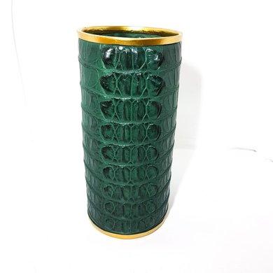 Vaso Cilíndrico Textura Croco Verde Detalhe Dourado G