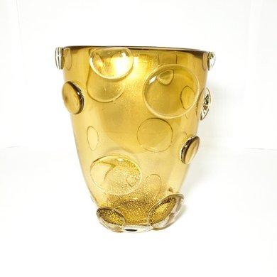 Vaso de Murano  Ambar com Pó de Ouro com bolas