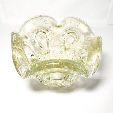 Vaso de Murano Transparente com Detalhes Pó de Ouro