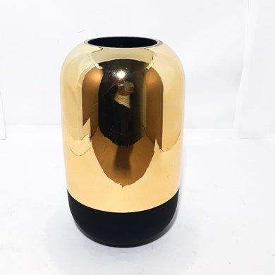 Vaso Em Vidro Base Preta Corpo Dourado M