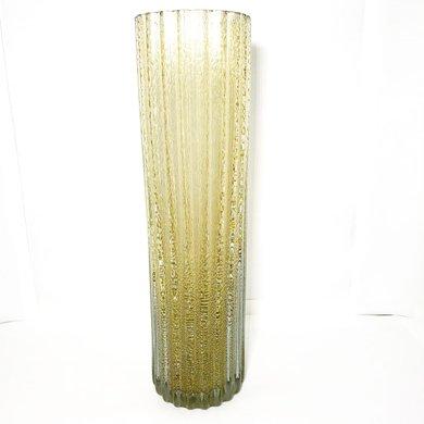 Vaso Cilíndrico em Gomos Transparente com Dourado
