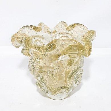 Vaso Murano Ondulado Pó de Ouro Transparente P