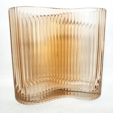 Vaso Ondulado de Vidro Detalhe Frisos Cor Salmão G