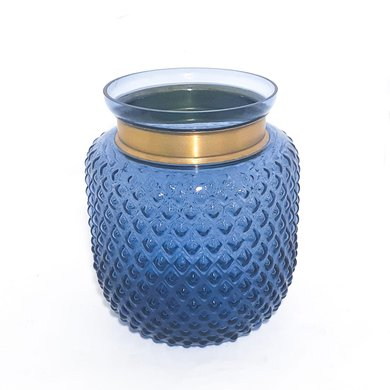 Vaso Redondo Bico Jaca Azul C/ Filete Dourada M