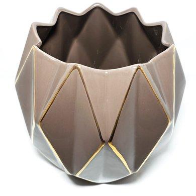 Vaso Redondo Cerâmica Cinza Losangos Dourados M