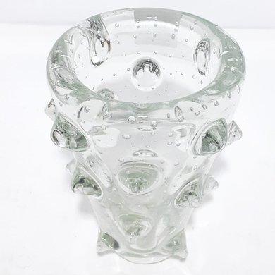 Vaso Transparente Murano C/ Bolas Em Relevo G