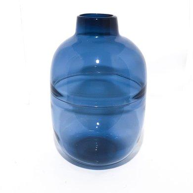 Vaso Vidro Azul Bojudo Liso