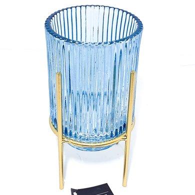 Vaso Vidro Azul Frisado Com Suporte