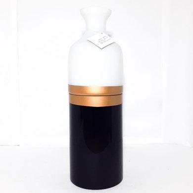 Vaso Vidro Preto/Branco Detalhe Dourado M