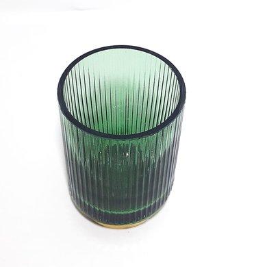 Vaso Vidro Verde Frisado C/ Base Dourada P
