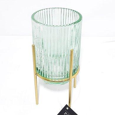 Vaso Vidro Verde Frisado Com Suporte