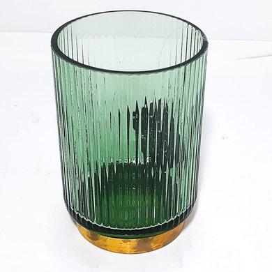 Vaso Vidro Verde Frisado Filte Dourado Base