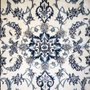 Tapete Persa Nain Original 1.32x0.87cm Bege Flor Azul