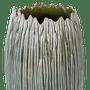 Vaso Bojudo Verde Cerâmica Frisado